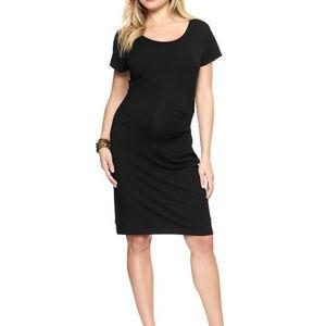 Gap Maternity Black Side Drape Fitted Dress